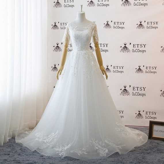 A Line Floor Length Tulle Wedding Dresses White Lace Wedding Etsy
