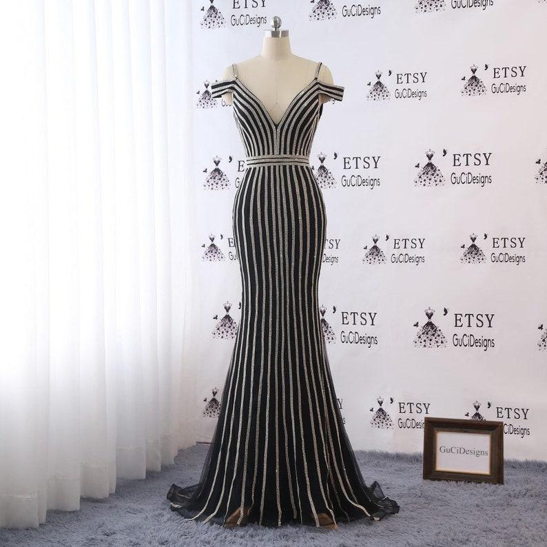 94de3c78c4b85 Sexy Deep Vneck Off Shoulder Prom Dress Black Tulle Mermaid | Etsy