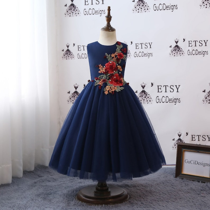 2018 Floral Flower Girl Dress For Weddings Long Navy Blue Tulle Red Flower Beaded Girls Ball Gown Kids First Communion Dress Ankle Length