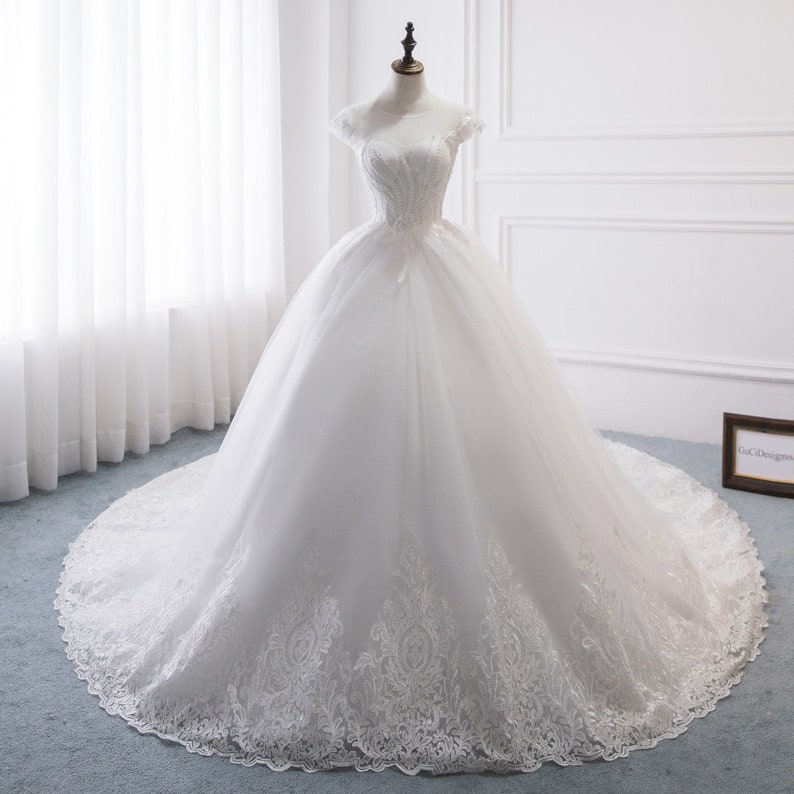 See Through Wedding Dresses.New Wedding Dress Aline Top See Through Bridal Gown White Lace With Sleeve Modern Wedding Gown Long Train Corset Back Bridal Dress Ball Gown