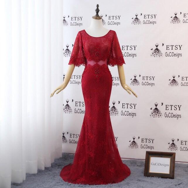 Elegant Red Evening Dress Mermaid with Sleeve2018 Diamond | Etsy