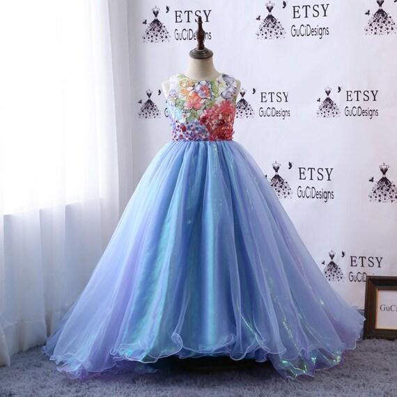 Flower Girl Dresses For Weddings White Dress Sparkle Blue | Etsy