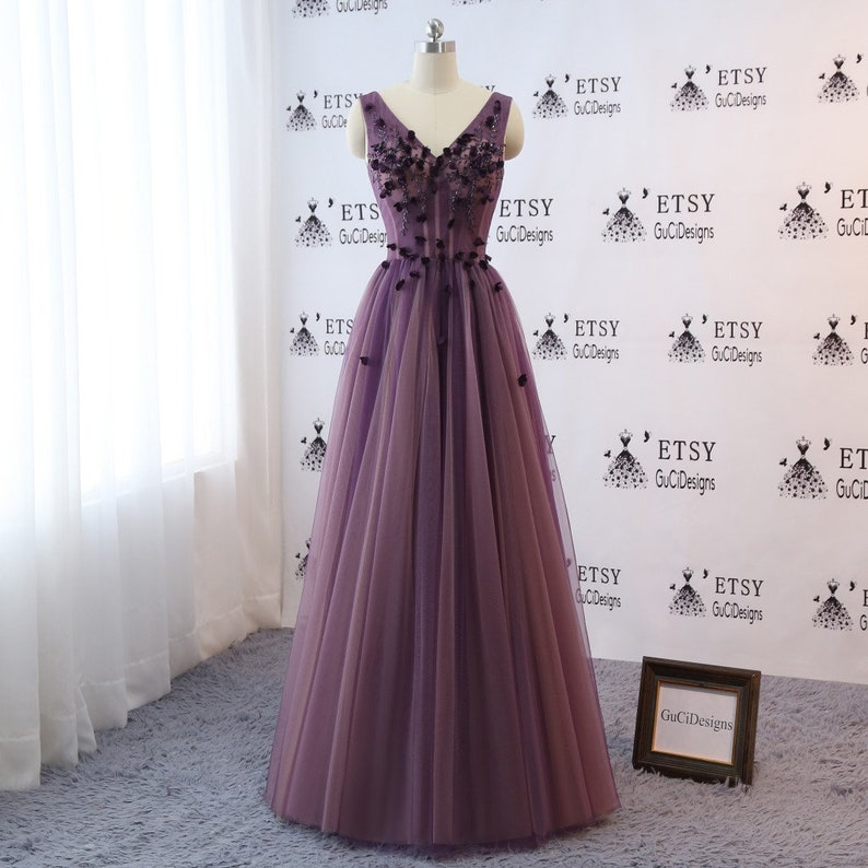 da215d19266 Custom Plus size color Grape Purple Prom Ball Gown Wedding