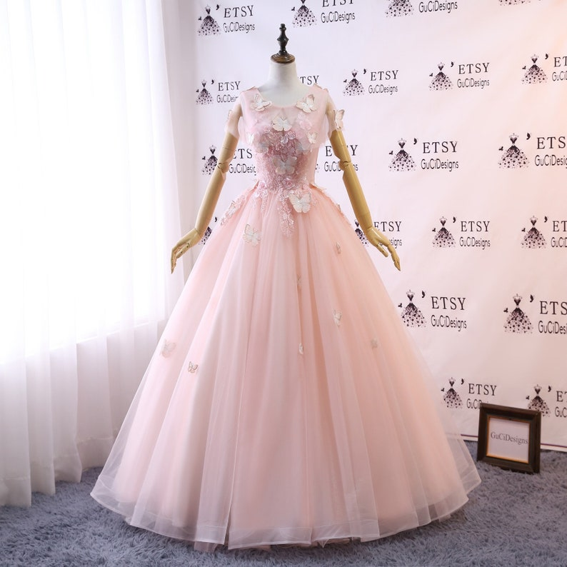 56c0cdd733f2b Custom Women Light Pink Prom Dress Ball Gown Long Quinceanera Dress Lace  Butterfly Masquerade Evening Dress Wedding Bride Gown Illusion Back