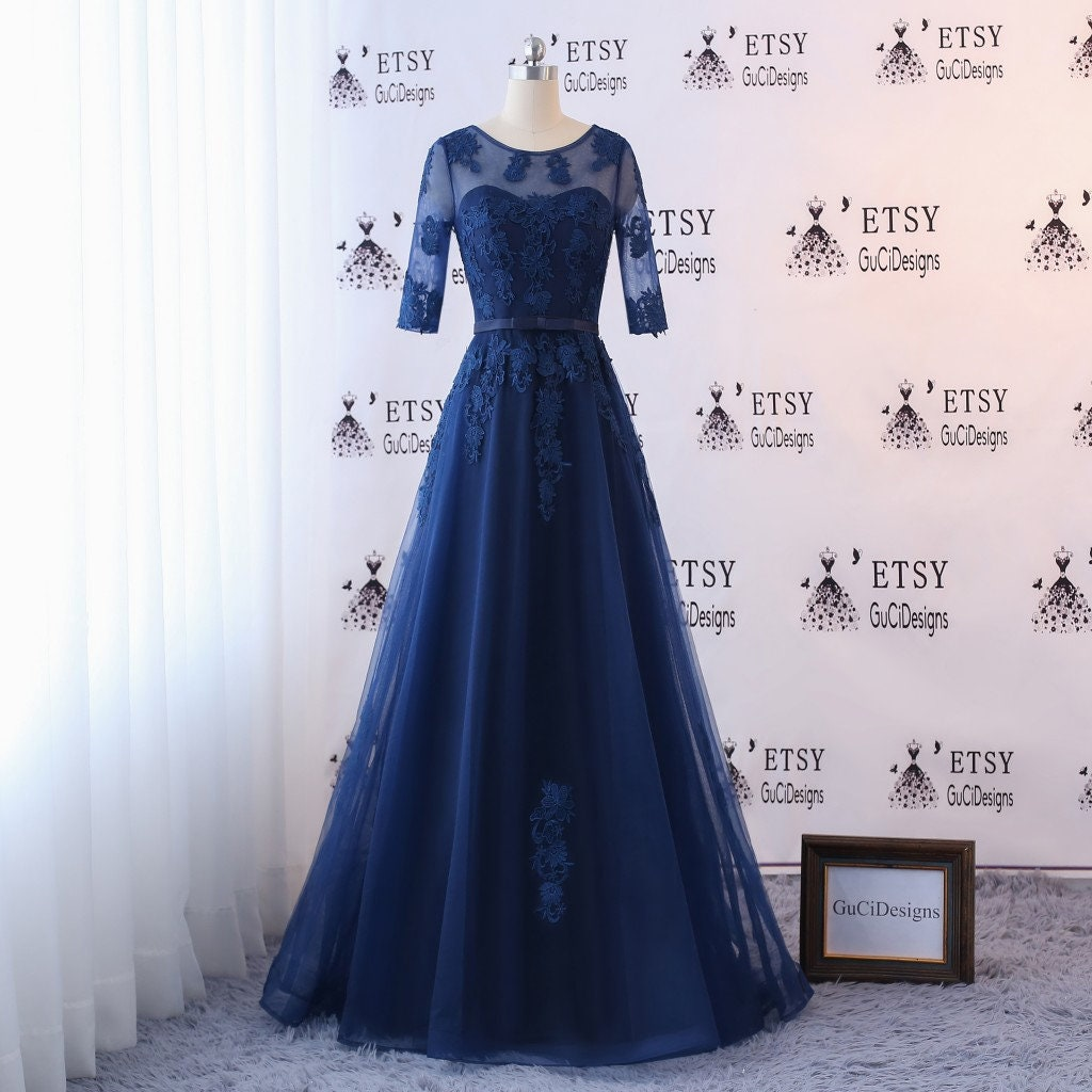 Elegant Simple Prom Party Dress Long Lace Applique Women Formal Maxi Evening  Dress Long Sleeve Bridal Gown Mother of ... 0352d0c99d42