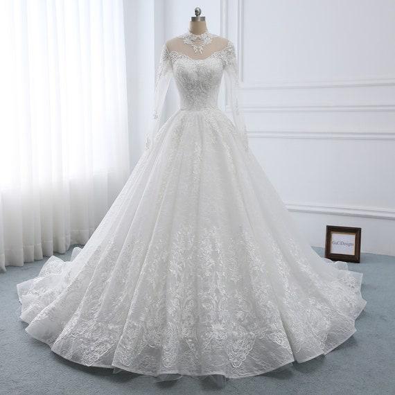 Wedding Dress Long Sleeve A Line Wedding Dress Lacebridal Etsy