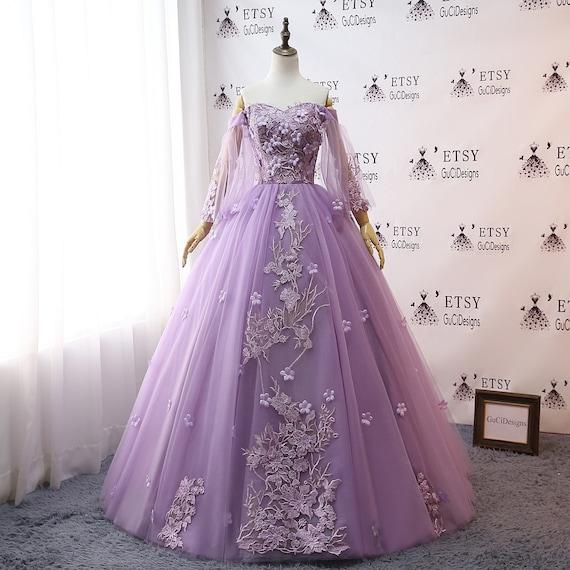 2019 Custom Prom Dress Lavender Purple Ball Gown Long Quinceanera Dress Off  shoulder Long Sleeve Party Dress Applique Wedding Bride Gown