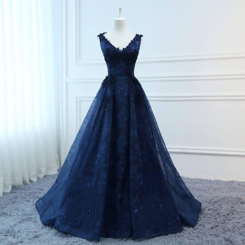 c85d5c4b8114 2018 Prom Dresses Long navy blue Evening Dresses Foral Tulle