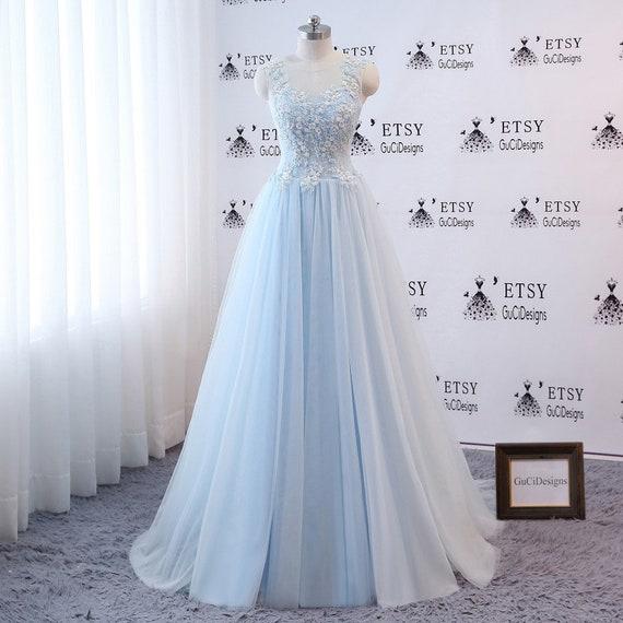 Elegant Prom Dress Blue Ball Gown Aline Sleeveless Women | Etsy