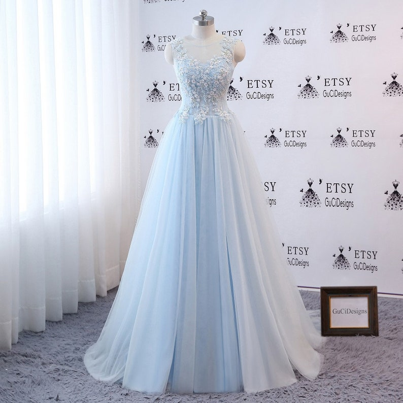 e67c9784a4c Elegant Prom Dress Blue Ball Gown Aline Sleeveless Women