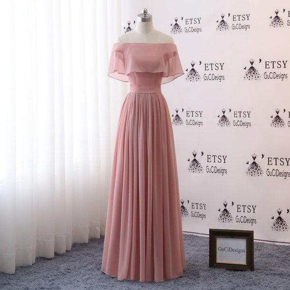 Chiffon Infinity Dress: Bridesmaid Dresses LongBridesmaid Dress W CapeDusty Pink