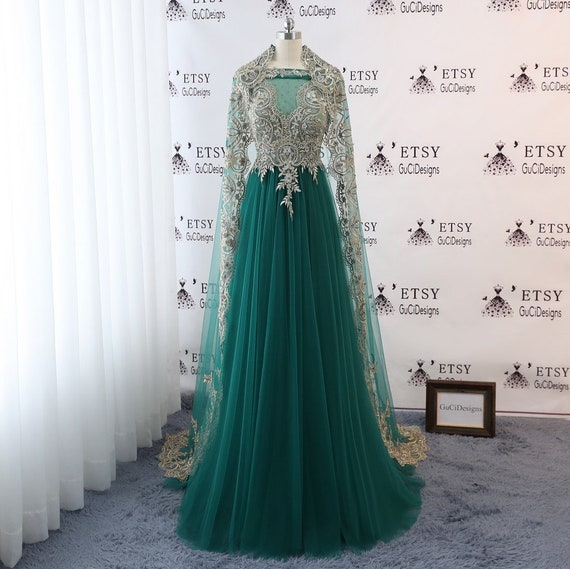 2018 Women Evening Dress Emerald Tulle With Gold Lace Bridal Etsy