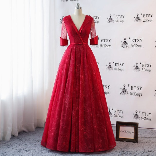 2018 Prom Dresses Long Red Lace Vintage Evening Dress Illusion   Etsy
