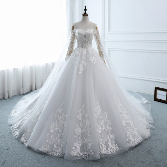 Wedding Dress Long Sleeve A Line Puffy Wedding Dress Etsy