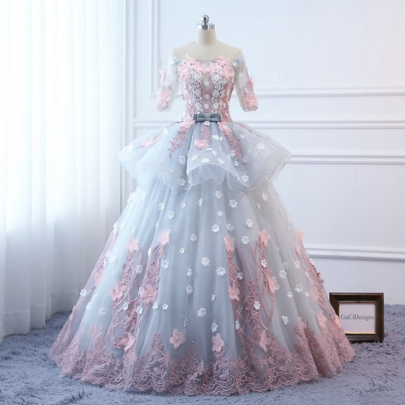 10aa260fe9b Custom Women Pink flowers Prom Dress Ball Gown Long
