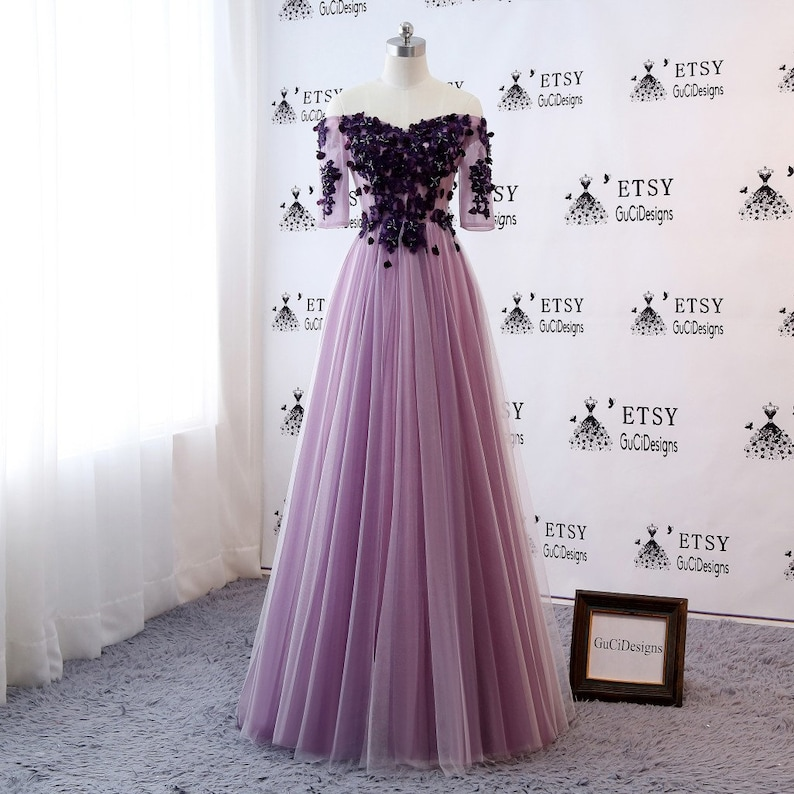 2a7cc709864b Sexy Off Shoulder Prom Ball Gown Purple with Lace Sleeve