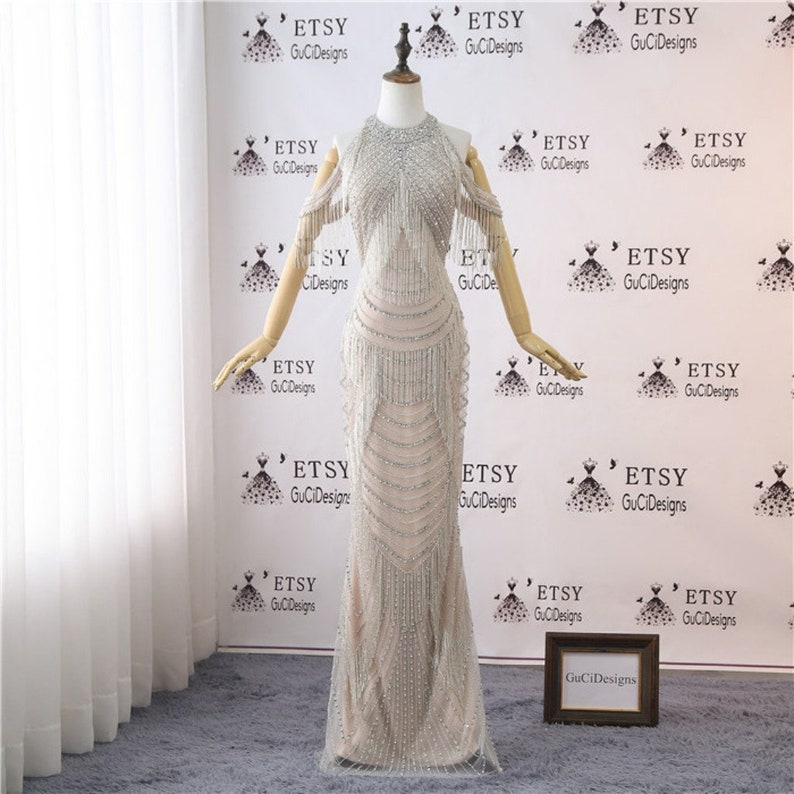 67f8127f37 Newest Wedding Gown Luxury Rhinestone Tassels Diamond Bridal Gown Sheath  Evening Dress Illusion Back with Bead Wedding Party Dress for Women
