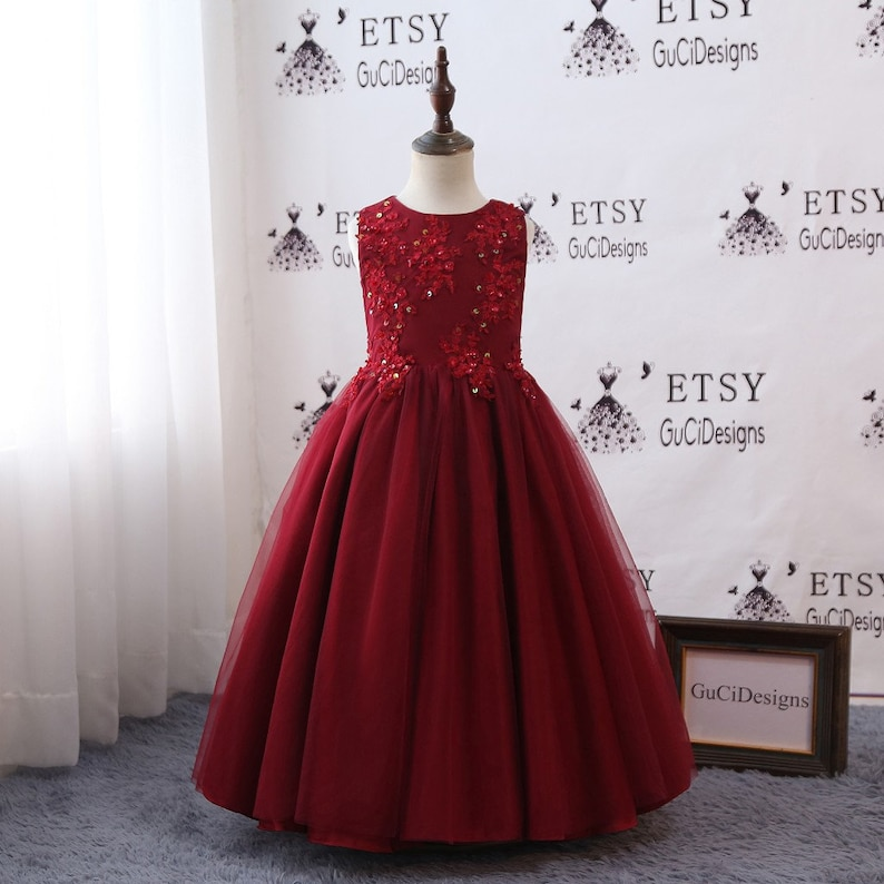 928305f4de Beautiful Girls Ball Gown Evening Dress Burgundy Princess