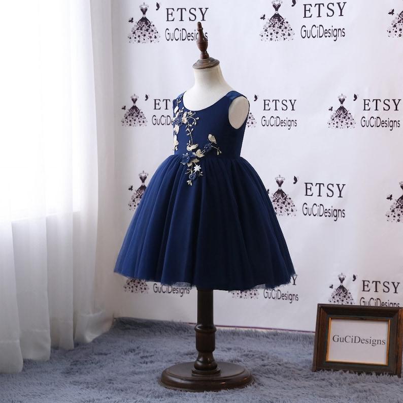 d17634913 Navy Blue Flower Girl Dresses For Weddings Baby Girls Lovely