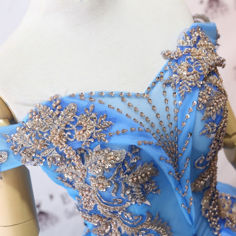2019 Prom Dress Long Blue Evening Dresses Foral Tulle Dress Women Formal Party Gown Off Shoulder Bride Gown Corset Back Quality Custom Made