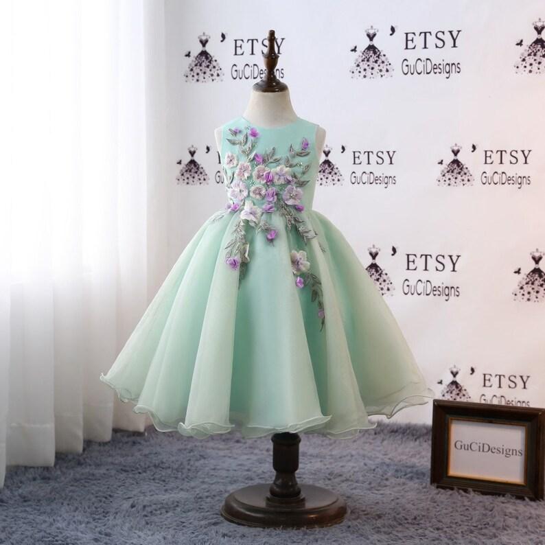 a6d92d0b4b1f 2018 Floral Flower Girl Dresses For Weddings Long Green Tulle | Etsy