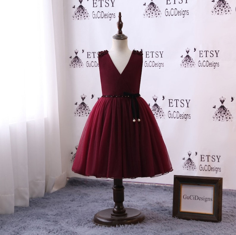 a22766f5fc1 Flower Girls Dresses Long Velvet Burgundy Weddings Junior