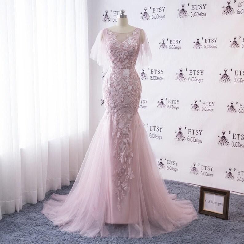 5a2ae9a9370 New Wedding Dress Long Lace Blush Pink Mermaid Design Wedding