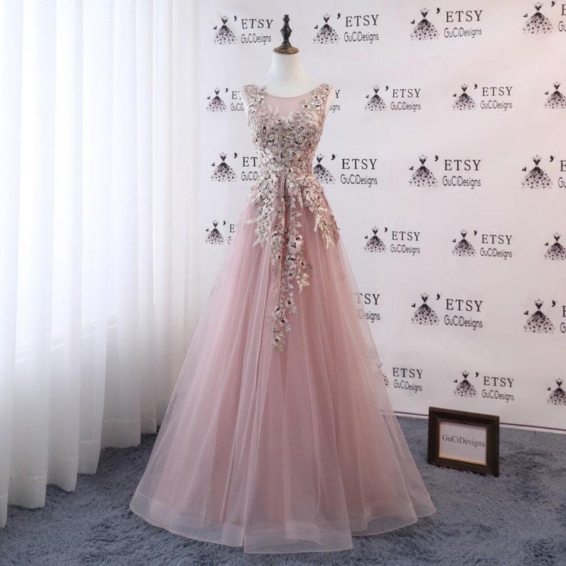 bc04e3a871f A-line Women Formal Dress Blush Pink Long Prom Dress Tulle