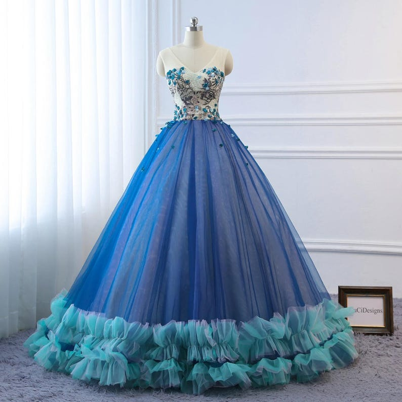 9f0420f62 2018 Prom Ball Gown Dresses Long Blue Evening Dresses Floral