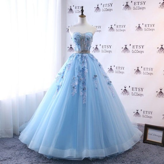 2018 A-line Wedding Dresses Blue Long With Butterfly Prom