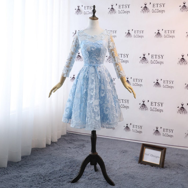 78e87f8cab8 Prom Dresses Knee Length Blue Lace Long Sleeve Girls