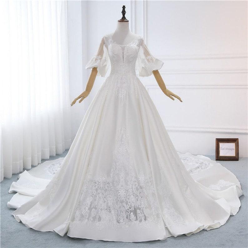 High Waist Satin Wedding Dress 2018