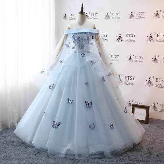 2019Prom Ball Gown Plus Size Long Women Formal Dresses Sky Blue Butterfly  flower Quinceanera Dress Masquerade Prom Dress Wedding Bride Gown