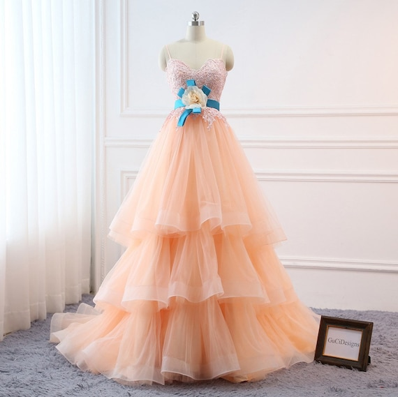 Custom Prom Ball Gown Plus Size Long 2018 Women Formal Dresses Tulle Orange  Pink Quinceanera Dress Masquerade Prom Dress Wedding Bride Gown