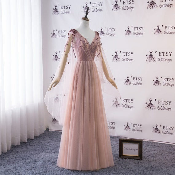 2018 Women Evening Dress Cameo Brown Tulle With Lavender Lace Bridal Wedding Gown With Long Tulle Cape Custom Color Formal Gown Unique Dress