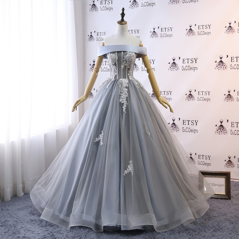 2169d8bbf6ec9 2019 Prom Ball Gown Elegant Gray Wedding Dress Long Floral Lace Pearl Dress  Tulle Sexy Off Shoulder Dress Women Formal Evening Party Gown