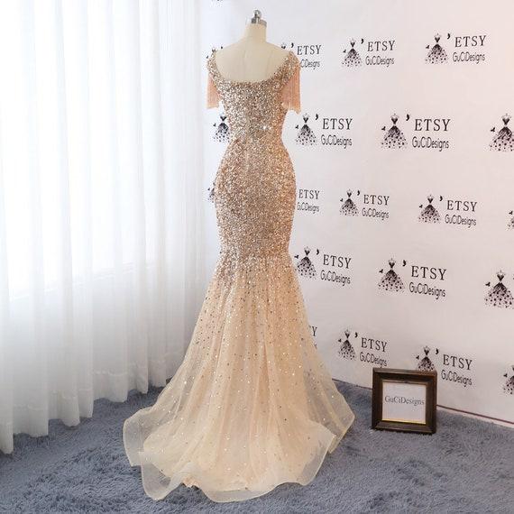 Newest Wedding Dress.Newest Wedding Gown Luxury Rhinestone Diamond Bridal Gown Mermaid Evening Dresses High Back With Beads Tassel Wedding Party Dress For Women