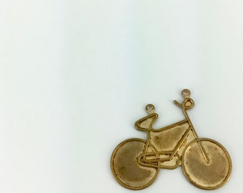 vintage . brass . bicycle . pendant . solid brass . charm . bicycle charm . bicycle pendant . brass bicycle . 70s . bike . brass charm