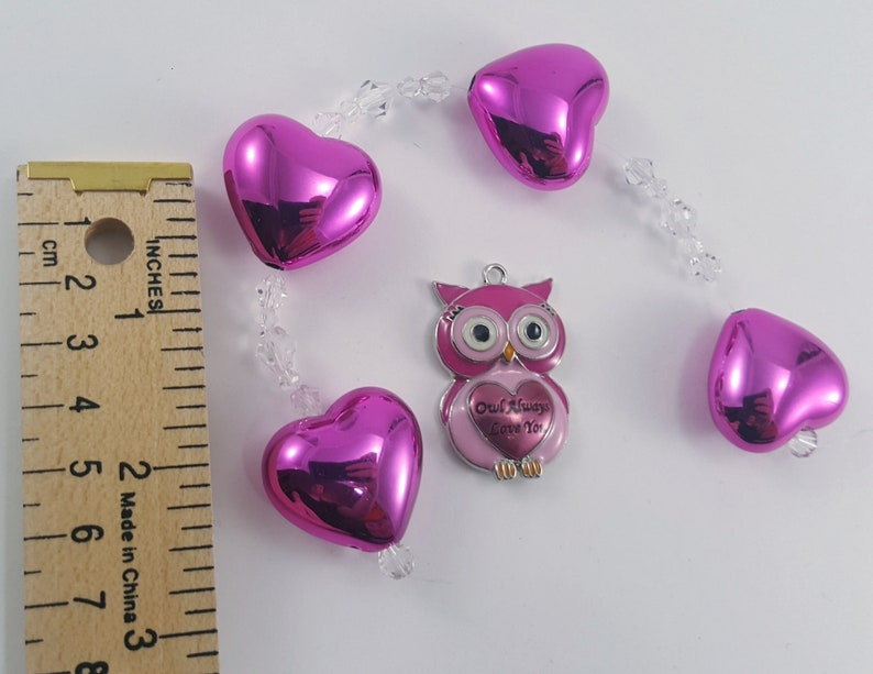 Hot Pink Owl and Hearts Jewelry Beads Pendant Findings 22 Pieces