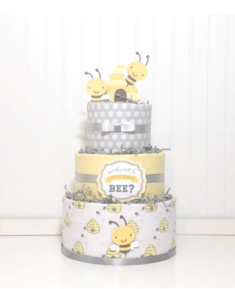 Yellow Elephant Themed Present Baby Shower Gift for a New Born Baby Gift Set 3 Tier Nappy Cake Neutral Baby Gift Hamper