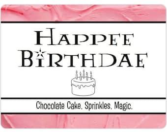 Happee Birthdae Inspired Candle    Happy Birthday Chocolate Cake Scented