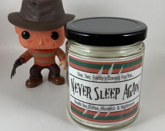 Freddy   Nightmare On Elm Street   Horror Villain   Hazelnut Chocolate Coffee Scented   Inspired Candle