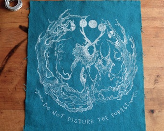 Forest Ghosts backpatch or bagpatch. Silkscreened. Ecofriendly water based ink.