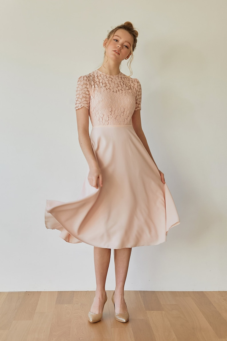 d14cc61099ac Florence / Blush pink fit and flare lace dress reception | Etsy