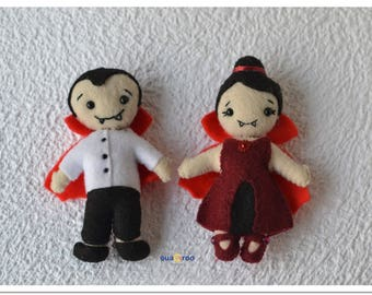 Felt Dracula Vampire gifts for him and her personalized custom valentine's day Halloween ornaments