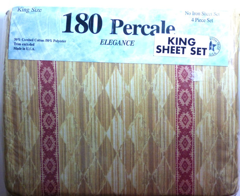 Vintage King Bed Set Pillowcase Flat Sheet Fitted Sheet Brown Beige Red Percale Elegance King Sheets Set No Iron NOS New