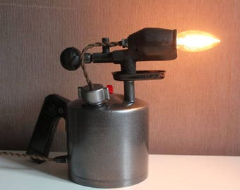 Upcycled industrial loft urban old blow torch lamp garage decor
