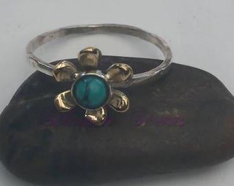 Sterling Silver Flower Stack Ring