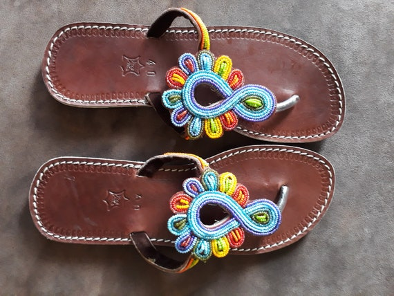 Maasai Sandals Summer Shoes Unique Leather Sandals African Maasai leather handmade beaded sandals, Gift for her, Flipflop, Kenya Sandals