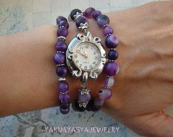 Purple silver watches bracelet Agate women wristwatch Classic unique beaded watches Stone multi row business bracelet Gift for partner
